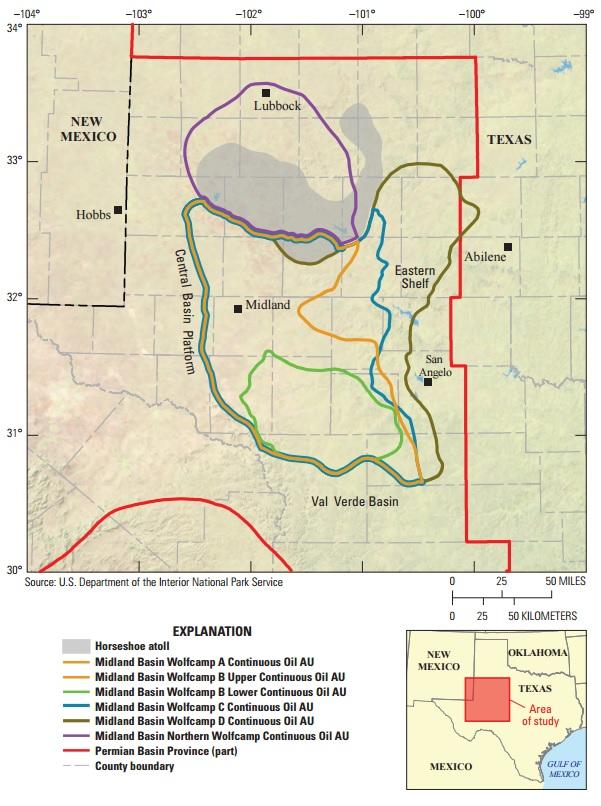 Midland Basin Map. Image credit: USGS