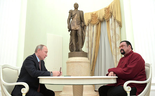Russian President Vladimir Putin with US actor Steven Seagal. Image credit:  Kremlin.ru
