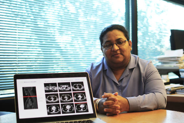 Dr. Tanveer Syeda-Mahmood of IBM Research shows the Watson-based tool she developed that helps physicians detect heart disease (Image credit: IBM Research)