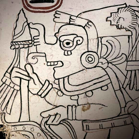 A detail of an image from page 4 of the Grolier Codex with red underpainting visible. Photo credit: Justin Kerr