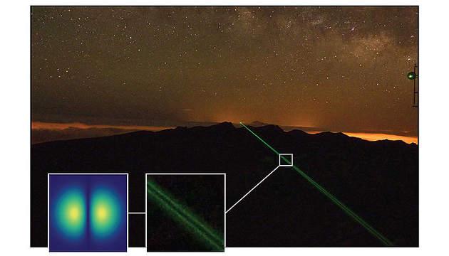 Eine Lichtschraube am 143 Kilometer langen Weg zwischen den Kanarischen Inseln von La Palma nach Teneriffa (Image copyright: Universität Wien).