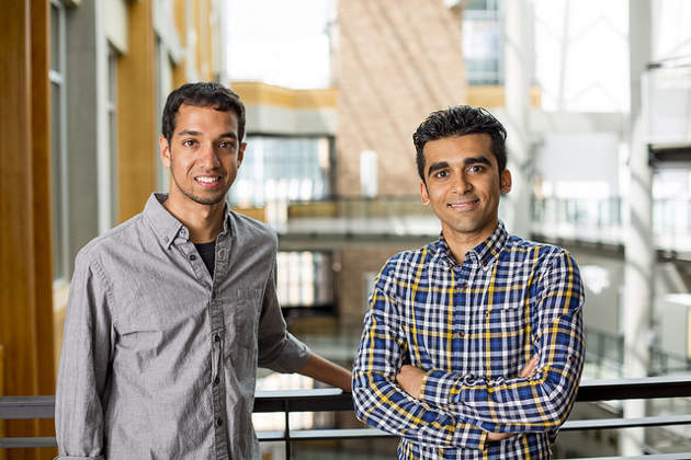 The research team includes UW electrical engineering doctoral students Vikram Iyer (left), Mehrdad Hessar (right) and computer science and engineering assistant professor Shyam Gollakota (not pictured). Image credit: Dennis Wise/University of Washington