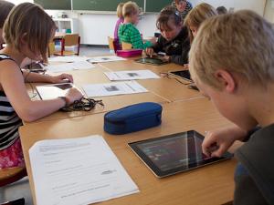 Einsatz von Tablet-Programmen im Unterricht. Foto credit: Universität Tübingen / Friedhelm Albrecht