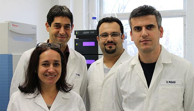 Christopher Gerner zusammen mit seinem Team (v.l.: Astrid Slany, Christopher Gerner, Besnik Muqaku, Ammar Tahir) (Image copyright: Universität Wien).