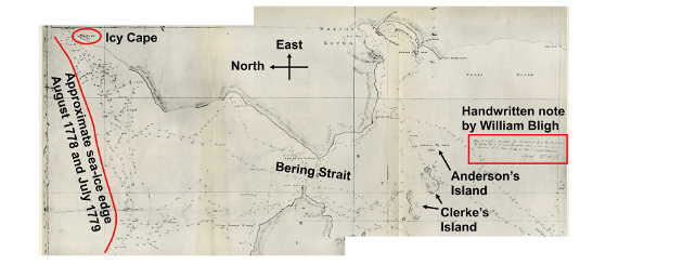 Detail from Henry Roberts' chart of the NW Coast of America and the NE Coast of Asia. The red line shows the approximate ice edge that caused Captain James Cook to turn back. Image credit: Harry Stern/University of Washington