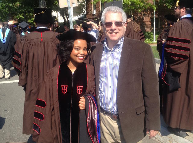 A successful thesis. Johnson and Reichner at Commencement 2015. The research was part of Johnson's doctoral thesis. Image courtesy Courtney Johnson