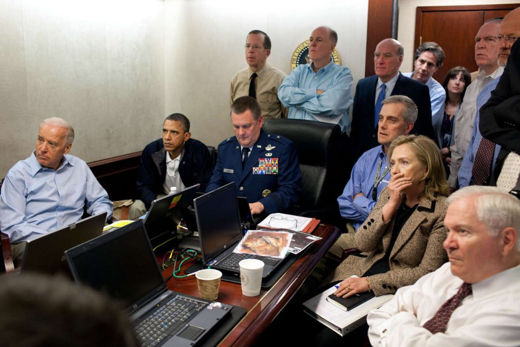 President Barack Obama watching live feed from drones operating over the bin Laden's complex in Abbottabad, Pakistan on May 1, 2011. Photo credit: Pete Souza Source: Wikipedia (Click image to enlarge)