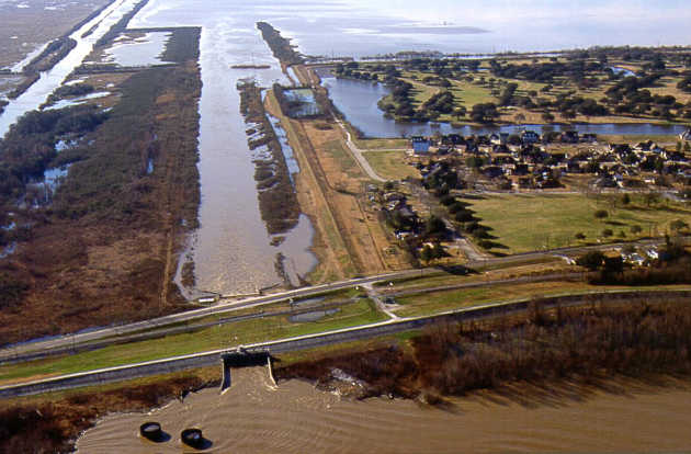 The Caernarvon Freshwater Diversion structure, located at the head of Breton Sound Estuary, became operational in 1992. Image credit: US Army Corps of Engineers