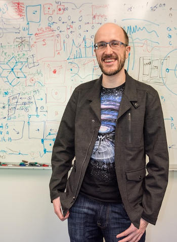 Computer algorithms developed by Colin Ophus enabled the scientists to decipher the atomic structure of the nanoparticle, which shed light on how the atoms arrange themselves into an ordered structure with optimal magnetic properties. (Image credit: Marilyn Chung)