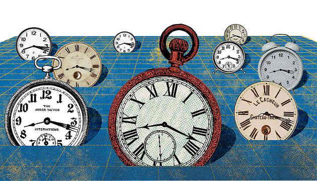 """Das idealisierte Bild von Raum und Zeit in Einsteins Allgemeiner Relativitätstheorie ordnet jedem Punkt im Raum eine ideale Uhr zu, welche gleichmäßig tickt, ohne von benachbarten Uhren beeinflusst zu werden. Wenn jedoch sowohl quantenmechanische als auch gravitationsbedingte Effekte berücksichtigt werden, ist dieses Bild nicht länger haltbar, da die Uhren einander gegenseitig stören. Die Zeiger der Uhren werden """"unscharf"""" (Image copyright: Juan Carlos Palomino, Fakultät für Physik, Universität Wien)."""