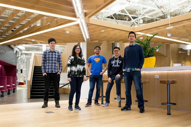 The Vancouver Education team, Write Ideas subteam. Left-to-right: Lifu Huang, Shefali Garg, Ram Agrawal, Kun Ji, Adam Kelly (Photo by Pam Saunders)