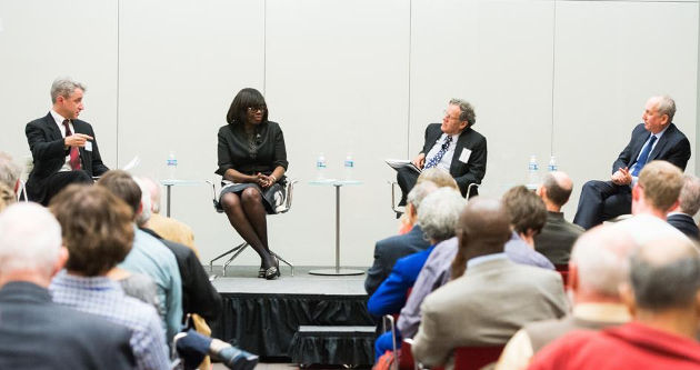 From left: University of Michigan professor Arthur Lupia, Prof. Olufunmilayo I. Olopade, Prof. Robert Rosner and Eric Isaacs, executive vice president for research, innovation and national laboratories, hold a panel discussion on communicating facts. Photo by Jean Lachat