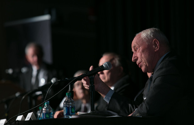 Apollo 15 astronaut Al Worden (foreground) on a panel at the Armstrong Space Symposium at The Ohio State University on May 8, 2017. Photo by Kevin Fitzsimons, courtesy of The Ohio State University.