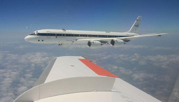 Auch im Jahr 2016 hat Bernadett Weinzierl mit der DC-8 den Einfluss von Abgasen und Co auf das Klima untersucht (Image copyright: Bernadett Weinzierl, Universität Wien).
