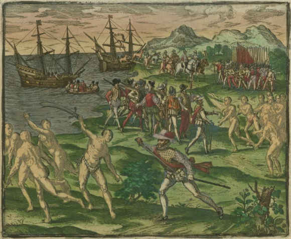 An image from 1595 depicting conflict between Native Americans in Mexico and Spanish colonists led by Francisco de Montejo. Image courtesy of the John Carter Brown Library at Brown University