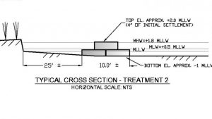 Schematic of an oyster reef designed to mitigate coastal erosion. Image credit: North Carolina State University (Click image to enlarge)