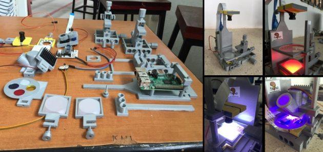 Kostengünstiges Labor zum Selberbauen: Das Gerüst des FlyPi-Systems lässt sich im 3D-Drucker herstellen und selbst montieren, Elektronik und motorisierte Teile mithilfe von Open-Source-Software selbst programmieren. Foto credit: Tom Baden / CIN