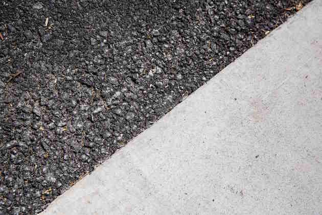 Asphalt (dark) and cement (light) side by side. Image credit: Berkeley Lab
