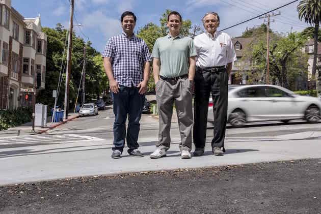 Berkeley Lab Heat Island Group researchers Pablo Rosado (from left), Ronnen Levinson, and Mel Pomerantz (Image credit: Marilyn Chung/Berkeley Lab)