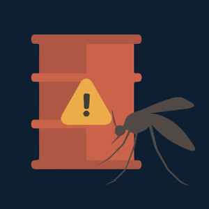 Illustration of chemical barrel and mosquito Image Credit: Kaitlyn Beukema