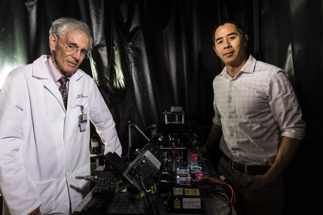UW Medicine professor of pathology Larry True (left) and mechanical engineering associate professor Jonathan Liu (right) led the team that developed the light-sheet microscope and demonstrated its utility for various clinical applications. Image credit: Mark Stone/University of Washington