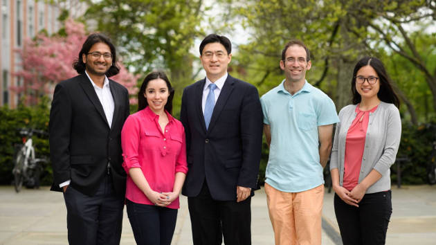 A team of Princeton researchers has developed a method to detect and defend against attacks on the Tor system, which provides anonymity to internet users. Team members include, from left,Prateek Mittal, an assistant professor of electrical engineering;Anne Edmundson, a graduate student in computer science;Mung Chiang, the Arthur LeGrand Doty Professor of Electrical Engineering;Nick Feamster, a professor of computer science and deputy director of the Center for Information Technology Policy;and Yixin Sun, a graduate student in computer science. Photo by Sameer A. Khan/Fotobuddy