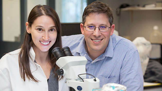 Master's student Julie Steinberg and Prof. Jonathan Cohen are investigating the distribution and concentration of microplastics in the Delaware Bay.  Photo by Judy Rolfe