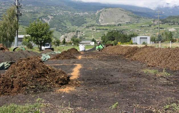 Feldexperiment in der Schweiz: Aufbau der Kompostmieten aus Stallmist vor der Zugabe der Pflanzenkohle. Foto credit: Nikolas Hagemann/Universität Tübingen