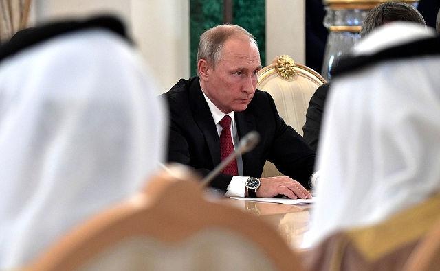 President Vladimir Putin during Russian-Saudi talks inexpanded format. Photo credit: Kremlin.ru