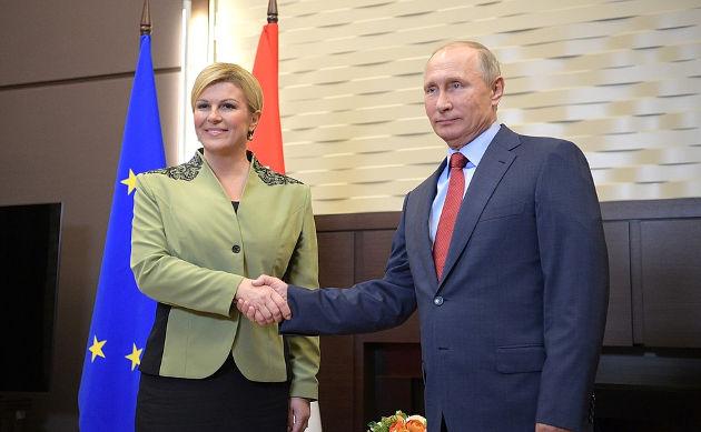 President Vladimir Putin with President ofCroatia Kolinda Grabar-Kitarovic. Photo credit: Kremlin.ru