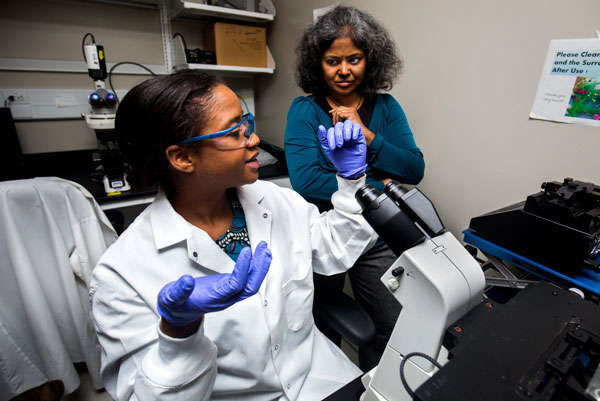 Rhonda Jack, a chemical engineering doctoral student and Sunitha Nagrath, associate professor of chemical engineering, discuss results from a cancer cell detection device. Image cCredit: Joseph Xu