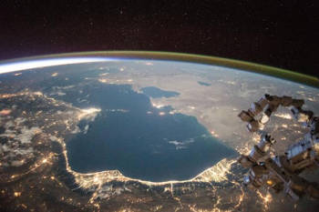 The Caspian Sea as seen from the International Space Station in 2015. A new study finds water levels in the Caspian Sea dropped nearly 7 centimeters (3 inches) per year from 1996 to 2015. The current Caspian Sea level is only about 1 meter (3 feet) above the historic low level it reached in the late 1970s. Photo credit: Scott Kelly/NASA-JSC.
