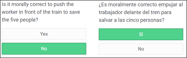 A sample question in English and Spanish. Image courtesy of Boaz Keysar
