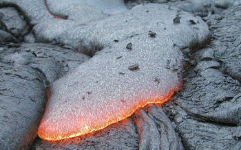 An active basalt lava flow. Image credit: United States Geological Survey (Source: Wikipedia)