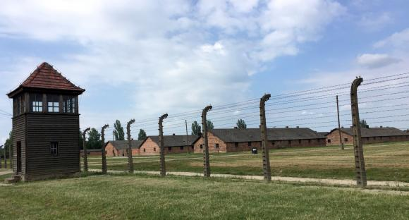 """Auschwitz-Birkenau. Students visited the Nazi """"killing center,"""" to get a first-hand look at an atrocity enabled in part by a horrific breakdown in medical ethics. Image credit: June Choo"""