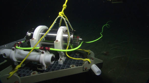 The modified pressure sensor is now being tested at the bottom of Monterey Bay. Image credit: MBARI/University of Washington