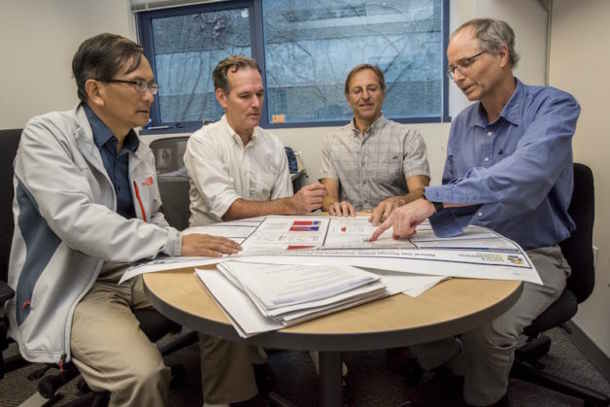 Lehua Pan, Preston Jordan, Barry Freifeld, and Curt Oldenburg (from left) were part of the national lab team that helped plug the Aliso Canyon natural gas blowout in southern California two years ago. (Image credit: Marilyn Chung/Berkeley Lab)