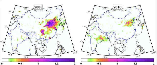 Two maps compare total annual sulfur dioxide amounts for India and China during 2005 (left) and 2016 based on Ozone Monitoring Instrument measurements. Purple depicts the highest concentrations while white depicts the lowest. Note the decrease in size of the purple region over northeastern China. Photo credit: Chris McLinden, Environment and Climate Change Canada.