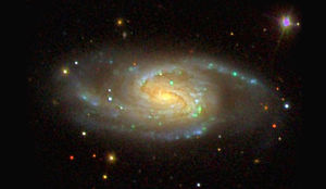 A three-color optical image of a Milky Way sibling. (Image courtesy of Sloan Digital Sky Survey)