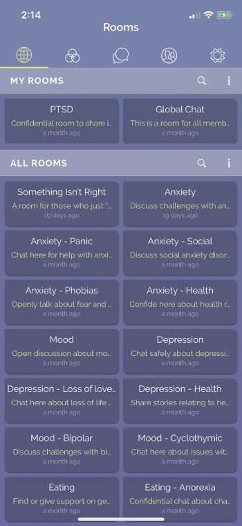 """A list of topic """"rooms"""" on iRel8. Image courtesy iRel8"""