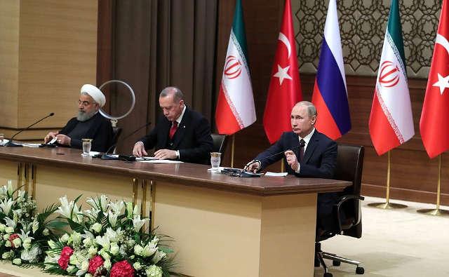 News conference following ameeting ofthepresidents ofRussia, Turkey andIran. Photo credit: Kremlin.ru