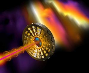 Ultrakurze Röntgen-Pulse (rosa) ionisieren Neon-Gas im Detektoren-Ring. Ein Infrarot-Laser (orange) treibt die Elektronen (blau) die Detektoren entlang. Grafik credit: Terry Anderson / SLAC National Accelerator Laboratory.