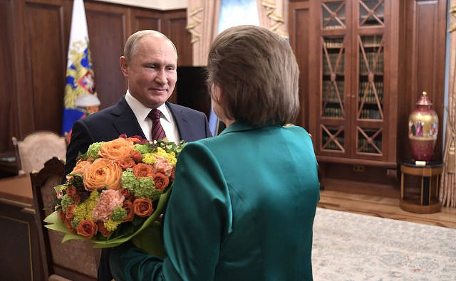 President Putin congratulates pilot cosmonaut Valentina Tereshkova. Photo credit: Kremlin.ru