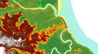 Bowers Beach, DE, between the St. Jones and Murderkill Rivers, Elevation map derived from the statewide LiDAR survey flown in early 2014. Most areas of green show elevation of less than 1 meter with areas of red approx 2 - 4 m. Photo by Wendy Carey and Delaware Environmental Observing System