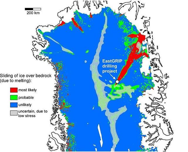 Karte der analysierten Fläche in Nordgrönland. Bislang wurde angenommen, dass Schmelzbildung an der Basis der Eisdecke und das resultierende Gleiten des Eises über das Grundgestein etwa 50 Prozent der Fläche betrifft. Durch die neuen Messungen zu den Eigenschaften des Eises muss man davon ausgehen, dass nur eine deutlich kleinere Fläche betroffen ist. Abbildung credit: Paul Bons, Ilka Weikusat