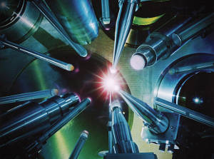 Computational astrophysicists describe a new method for acquiring information on experiments using laser beams to reproduce cosmic conditions. Image courtesy of Lawrence Livermore National Laboratory