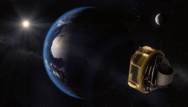 Künstlerische Darstellung des Fluges von ARIEL zu seinem Bestimmungsort außerhalb der Erdbahn (Image Copyright: ESA/STFC RAL Space/UCL/Europlanet-Science Office).
