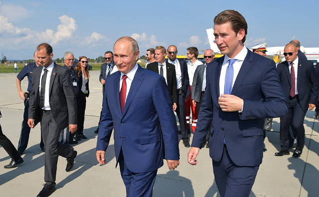 President Putin with Federal Chancellor oftheRepublic ofAustria Sebastian Kurz. Image credit: Kremlin.ru