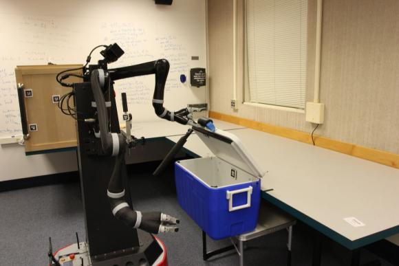 New research shows that robots can learn abstract representations of the world that are useful in planning for multi-step tasks, something that's monumentally difficult for robots to do. Image credit: Intelligent Robot Lab / Brown University