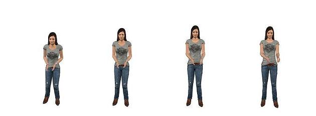 In der Studie wurde die Darstellung von Handlungen wie 'Fangen' (links) und 'Nehmen' (rechts) gemorpht, d.h. miteinander verrechnet. Die Forscher nutzten den Effekt aus, dass die Wahrnehmung eines Morphs (Mitte links, Mitte rechts) sich verändert, nachdem entweder ein 'Nehmen' oder ein 'Fangen' länger betrachtet wurde. Abbildung credit: S. de la Rosa